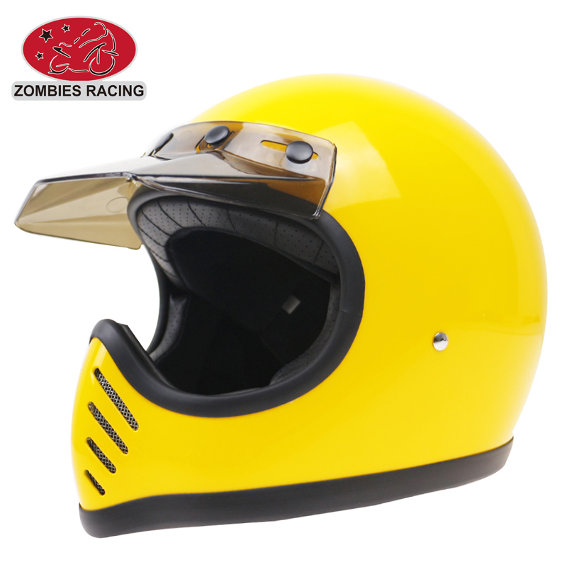 Professional MOTO3 vintage fullf ace helmet DOT ECE Approved motorcycle helmet Fiberglass shell solid and safety