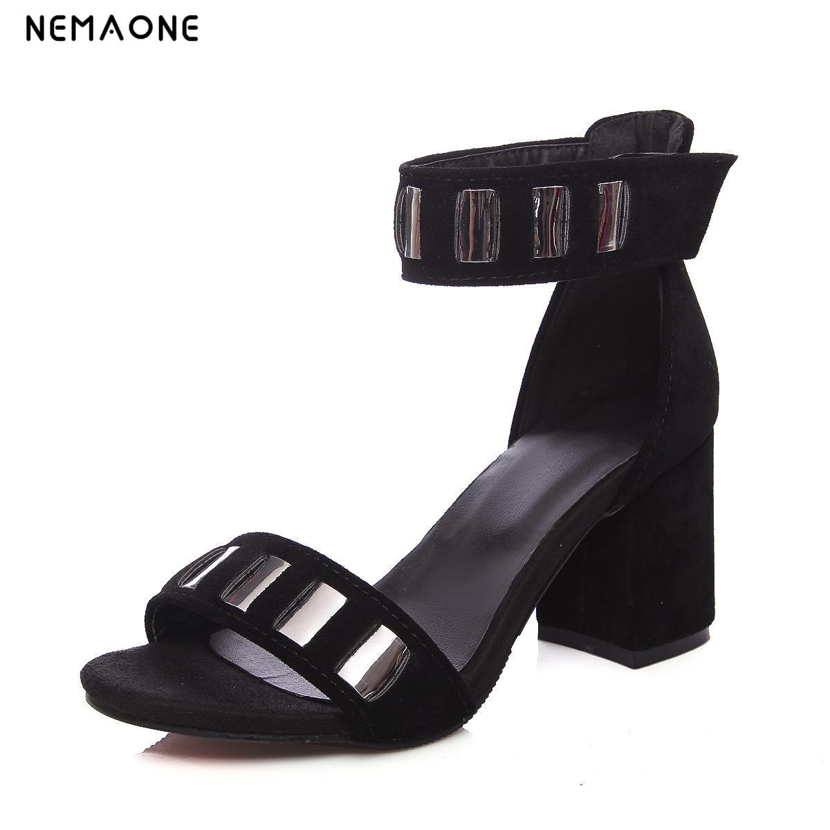 NEMAONE 2017 New women shoes sexy high heels sandals ankle strap women sandals summer shoes woman open toe ladies  size 34-43 new arrival black brown leather summer ankle strappy women sandals t strap high thin heels sexy party platfrom shoes woman