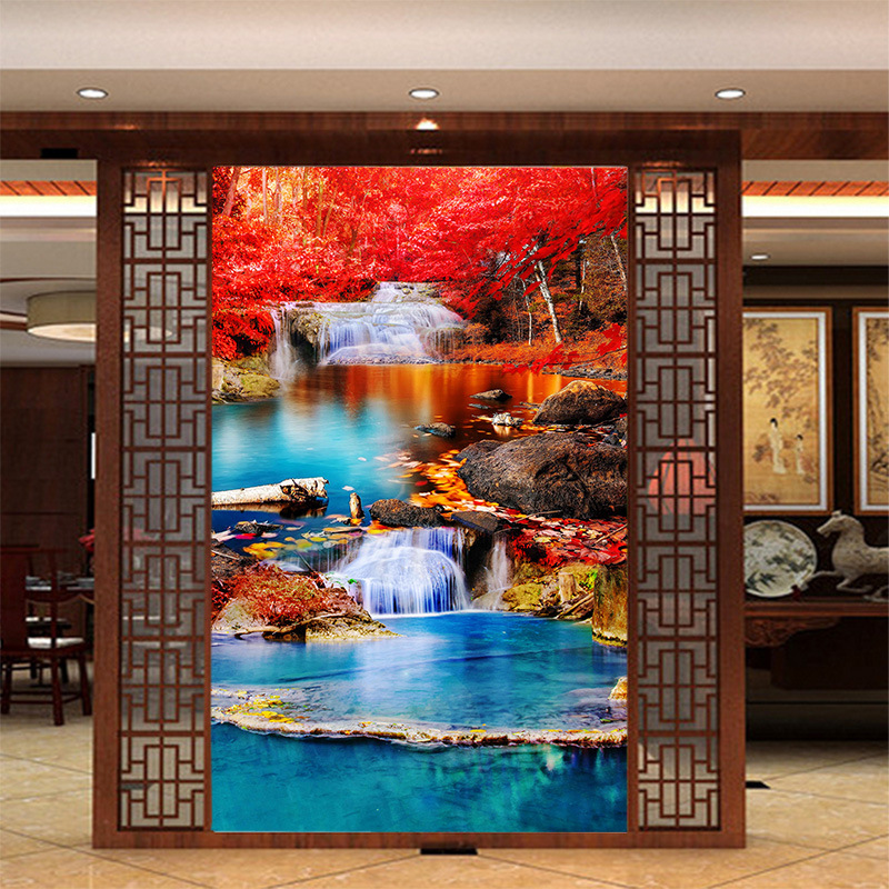 3D customized mural wallpaper medium size oil painting with red maple river pattern as vertical background the corridor screen in Wallpapers from Home Improvement