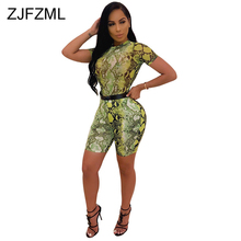 Snake Skin Print Two Piece Set Tracksuit Women Summer Clothes O Neck Short Sleeve T Shirt  And Biker Shorts 2 Piece Club Outfits kgfigu two piece set 2019 summer high neck short sleeve cropped tops and shorts tracksuits women outfits 2 piece set women