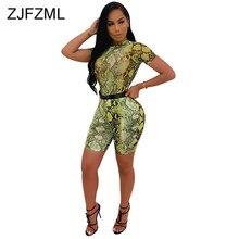 5625c862127bc Peau de serpent imprimé deux pièces ensemble survêtement femmes vêtements  d'été O cou à manches courtes t-shirt et Biker Shorts .