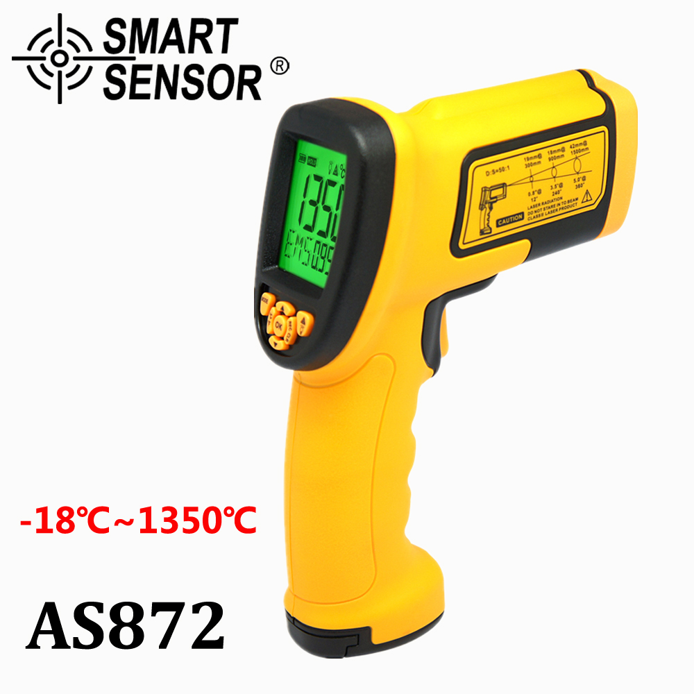 Smart Sensor AS872 infrared thermometer Digital Non-contact -18-1350C LCD display IR laser Temperature measurement VS GM1350 smart sensor ar550 infrared thermometer black orange 32 550 c