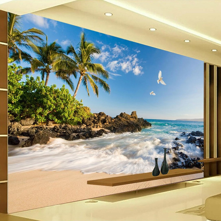 Custom 3D Photo Wallpaper HD Sea View TV Background Wall Mural Wallpaper Coconut Trees Seawater Home Decor Landscape Wall Paper
