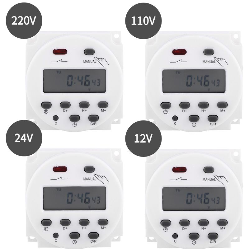 Electronic Timer Programmable Counter Time Control Relay Switch Digital LCD Display Power 12/24/110/220VElectronic Timer Programmable Counter Time Control Relay Switch Digital LCD Display Power 12/24/110/220V