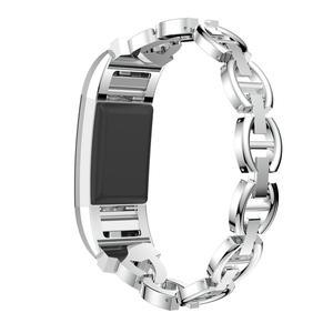Image 5 - HIPERDEAL 2018 Luxo Cristal Pulseira De Metal Em Aço Inoxidável Strap Band Para Fitbit Carga 2 Dropshipping Julho 17