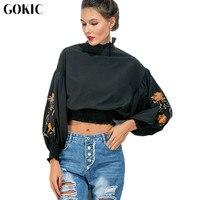 GOKIC New Black Vintage Women Blouses 2017 Autumn Floral Embroidery Shirred Hem Tops Lantern Sleeve Elegant