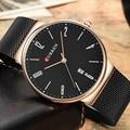 Curren moda simples marca de luxo curren relógio de quartzo homens relógio de aço inoxidável cinta de malha fina do sexo masculino casual relógio de pulso data