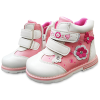 Autumn 1pair Flower BRAND Autumn Ankle Leather Fashion Children Boot Kids PU Leather Baby Shoes Inner