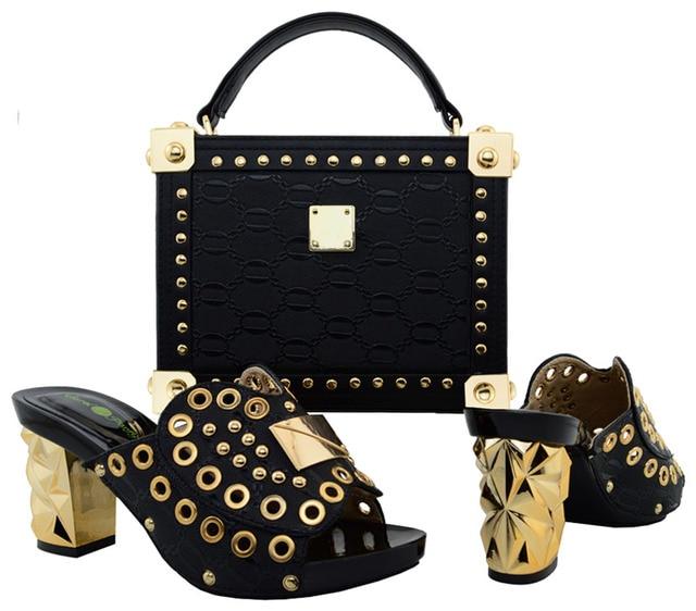 New Arrival Italian Design Shoes And HandBag Set Fashion New Rivet Woman Pumps Shoes And Bag Set For Party Black Color BCH-21