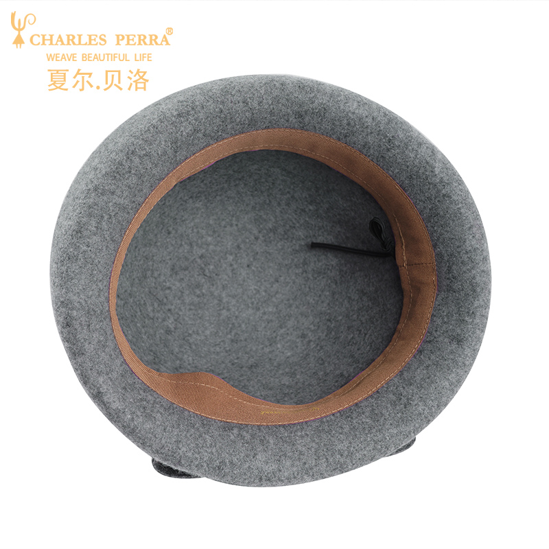 Charles Perra Brand Women Hats Fashion Hat Casual Elegant Lady Beret Wool Caps Keep Warm England Style Fedoras 5079 in Women 39 s Fedoras from Apparel Accessories