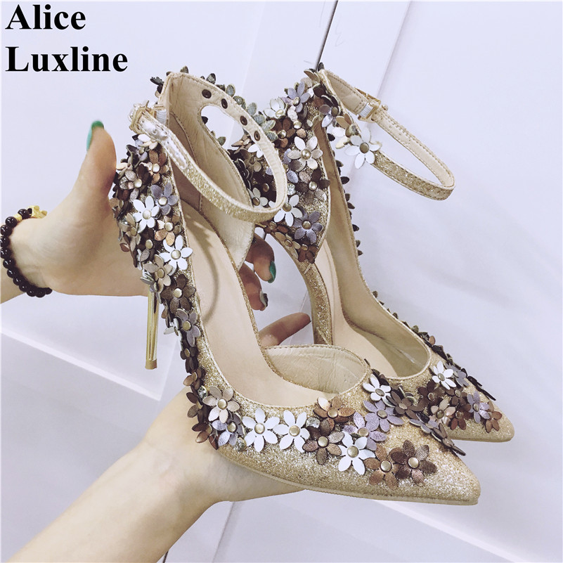 2017 Hot sale women high heels flower rivets ladies pumps buckle ankle-strap shoes party wedding Gold Silver pointed toe shoes women slingbacks shoes with pointed toe buckle strap perspex design crystal decoration ladies dress and party shoes high heels