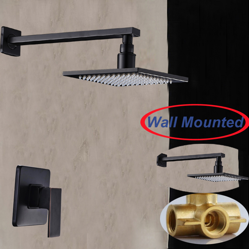 Wall Mounted Oil Rubbed Bronze Square Rain Shower Head Single Handle Valve