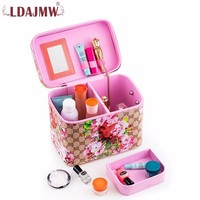 Printed Square Handbag Large Capacity Beauty Tools Cosmetic Case Box Portable Travel Cosmetics Bag Makeup Brush