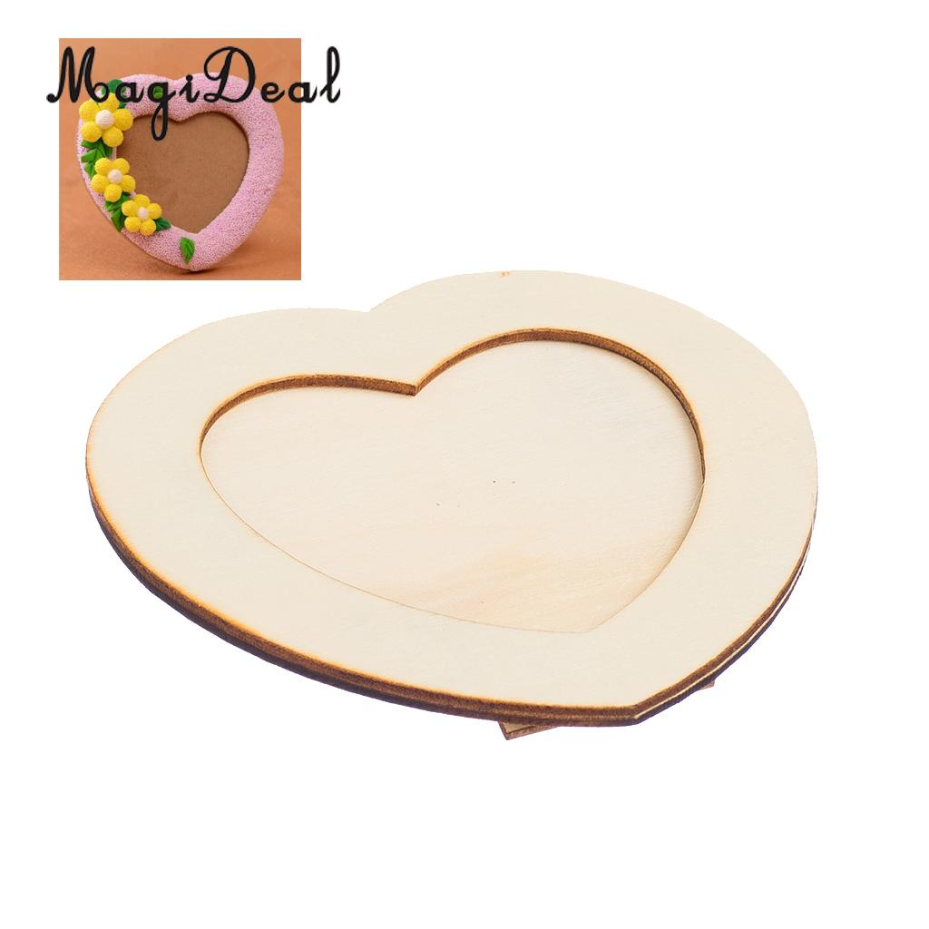 MagiDeal Wooden LOVE HEART Photo Frame DIY Picture Frame Art Craft For Arts and Crafts Projects