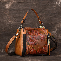 Vintage Small Handbag Women Genuine Leather Crossbody Bag Women's Shoulder Bags Ladies Messenger Bag Floral Style