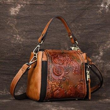 W stylu Vintage mała torebka kobiet torba z prawdziwej skóry przepasana kobiet torby na ramię panie Messenger torba w stylu kwiatowym