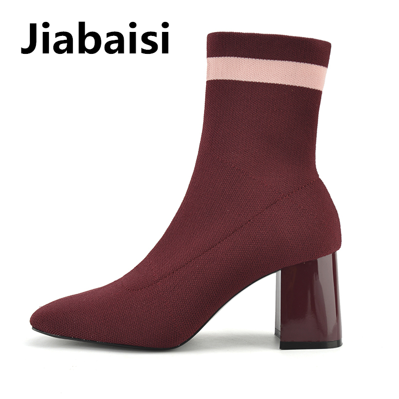 Jiabaisi shoes Woven Elastic Sock Womens Ankle boots Squared Toe slip on Brand Fashion Mix lines Womens chunky heel booties
