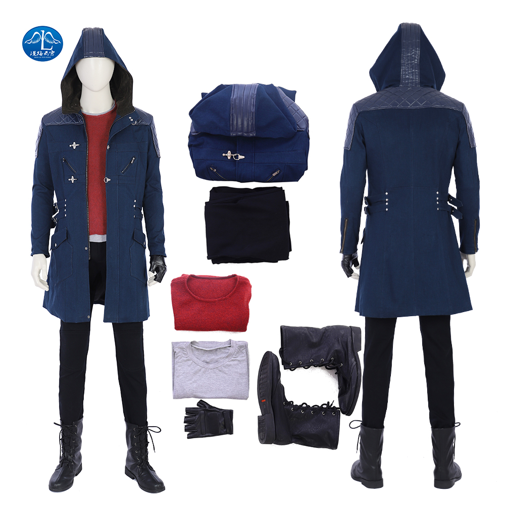 Newest Game Character Nero Cosplay Costume Halloween Devil May Cry 5 Cosplay Costume Men Full Set Custom Made Game Suit