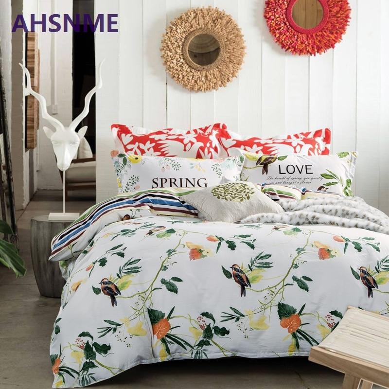 AHSNME 100% coton literie nordique literie multi taille couvre-lit bois et oiseaux housse de couette taie d'oreiller ensemble de literie ensemble de lit