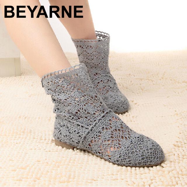 Novo 2015 Primavera e no Verão As Mulheres-Alta perna Botas Knitting Oco ankle boots das mulheres sapatos de malha para mulheres