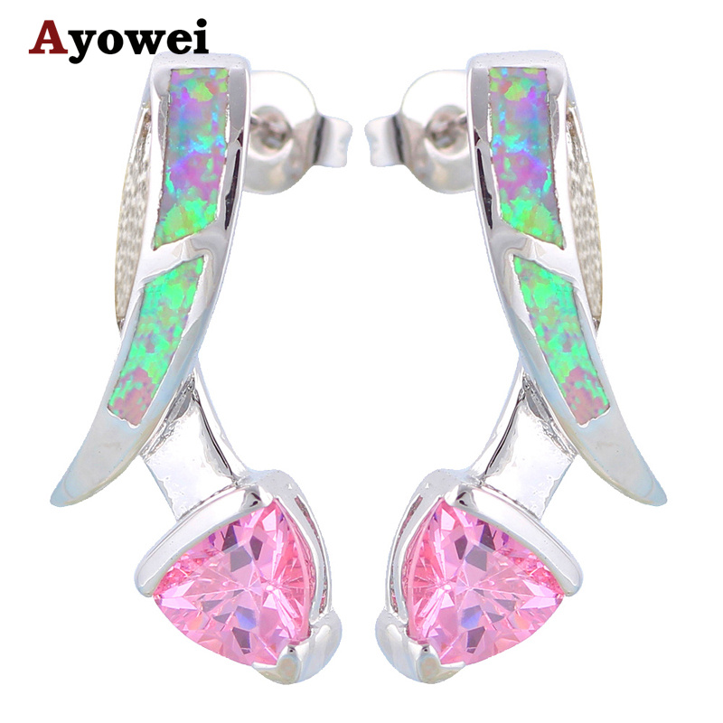 New Style AAA Zirconia Pink Zircon Blue Fire Opal Silver Stamped Stud Earrings Fashion Jewelry Opal Jewelry OE251A