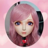 (GL001) Kadın Tatlı Kız Reçine Yarım Baş Kigurumi BJD Maske Cosplay Japon Anime Rol Lolita Gerçekçi Gerçek Maske Crossdress Doll