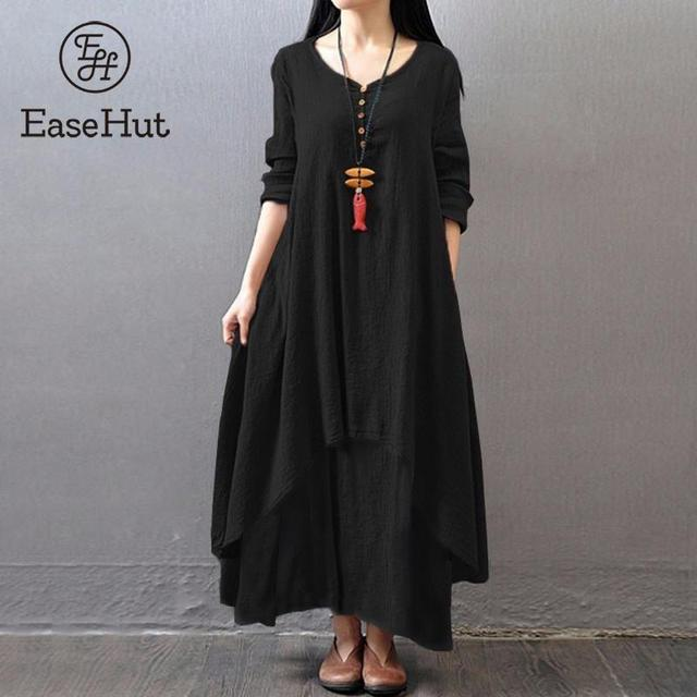 EaseHut Vintage Women Casual Loose Dress Solid Long Sleeve Boho Ethnic Autumn Long Maxi Dresses Plus Size Retro vestido mujer