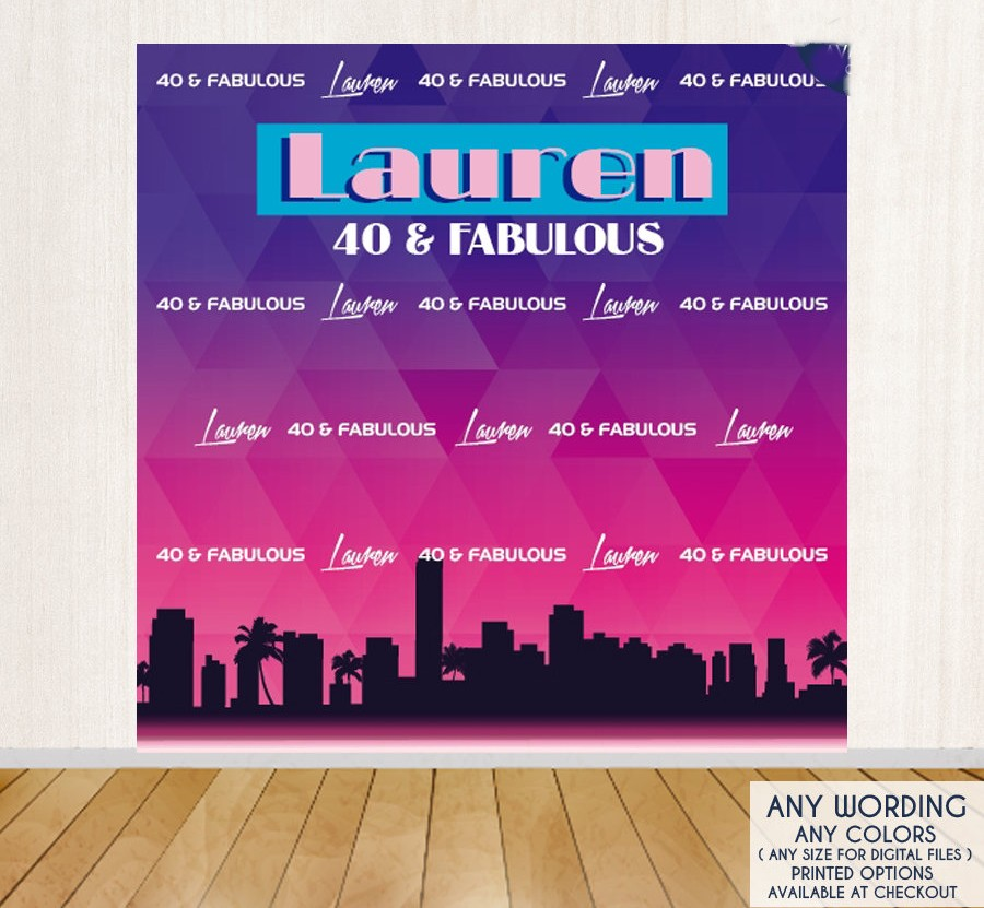 custom fabulous 40th birthday city skyline night backdrop High quality Computer print party photography backgrounds