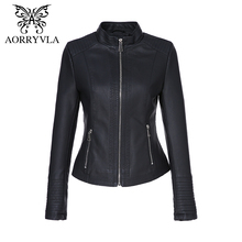 AORRYVLA New Fashion Faux Leather Jacket For Women Autumn 2017 Short Black Color Mandarin Collar Zippers Ladies Jackets Coat