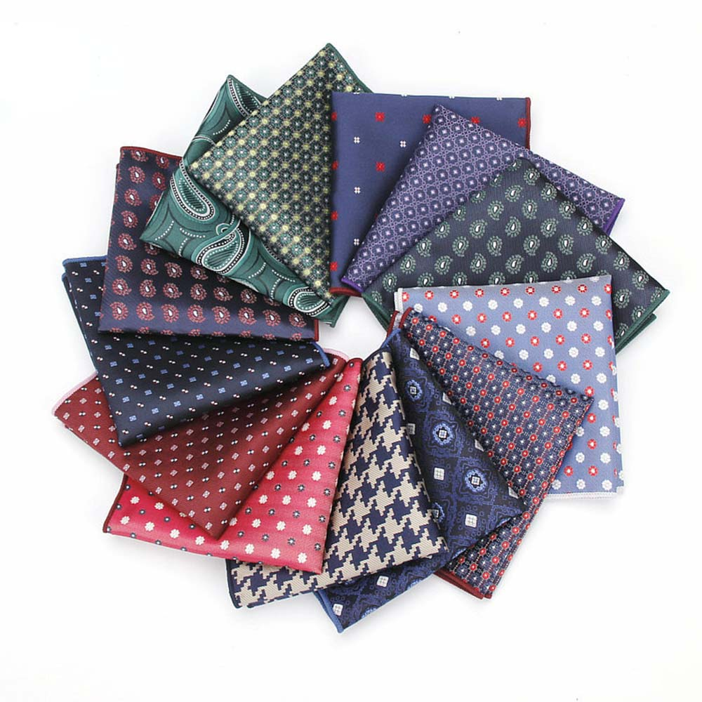 HUISHI Floral Pocket Square Jacquard Handkerchief  Hanky Suits Mens Pocket Square