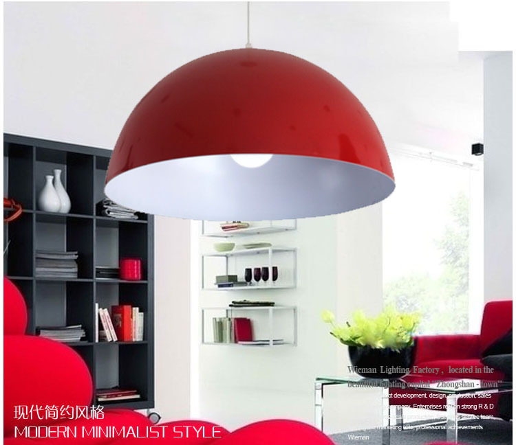 Free shipping 30cm Modern aluminum hemisphere pendant lights brief black white red dinning lighting pendant light free shipping 30cm modern aluminum hemisphere pendant lights brief black white red dinning lighting pendant light