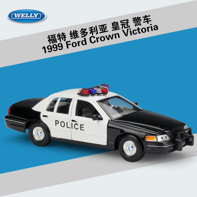 WELLY 1:24 Scale High Simulator For Ford Crown Victoria Nypd Police Model Car Toy Diecast Vehicles Car With Original Box For Kid