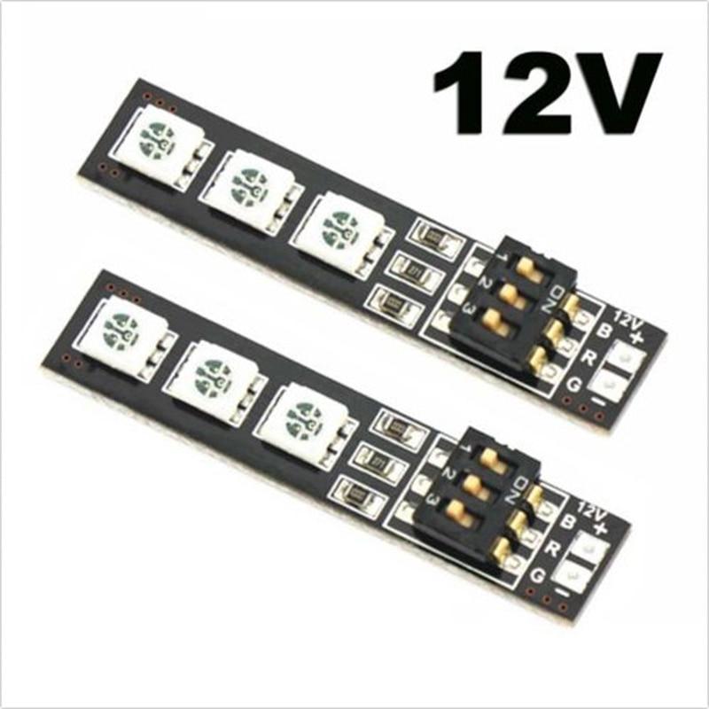 2x RGB 5050 LED светлина съвет 7 цвят 12V w / DIP превключвател за QAV250 F450 Quadcopter
