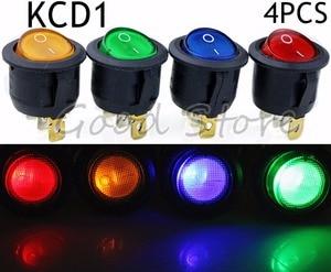 4Pcs 3Pin ON/OFF Car 220V/12V Round Rocker Dot Boat LED Light Toggle Switch SPST Light Switch YUAN