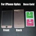 Nuevo frente y parte posterior rosa espejo de la galjanoplastia de oro premium real para iphone 6 s plus protector de pantalla de cristal templado para iphone6plus