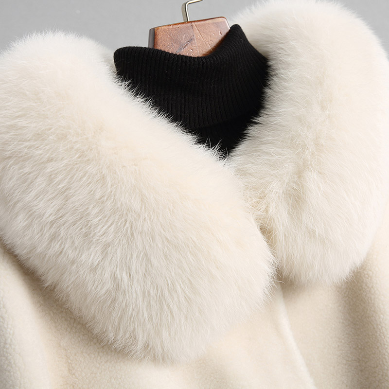 Manteaux Yq1928 Ayunsue Chaud Col Fourrure Femmes Réel De D'hiver À Manteau Renard Capuchon 18112 Veste Femelle 2018 Mouton Beige Laine Naturel PHrqvPw