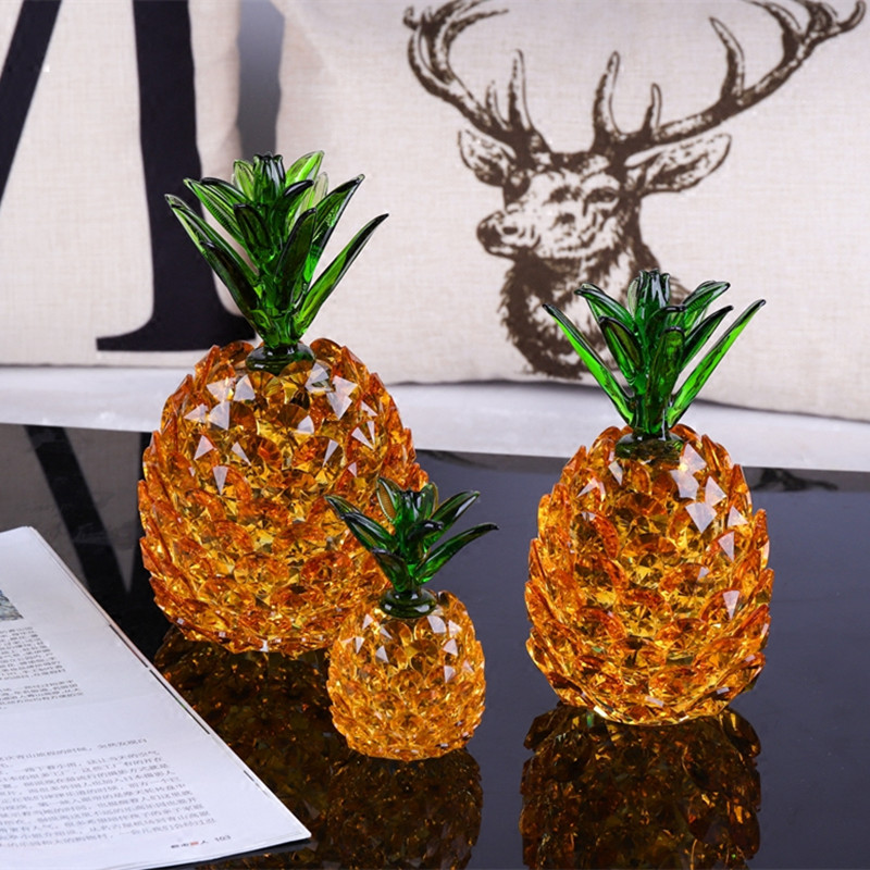 Cristal ananas figurines chanceux wishful ananas cadeaux salon maison décorations créatives Feng Shui fruits mascotte ornements