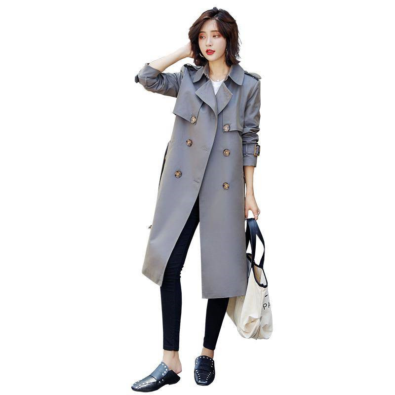 2019 New Spring Autumn Women Khaki Chic Cloak   Trench   Female Highstreet Workwear Double-Breasted Belted Long Coat Outerwears M74