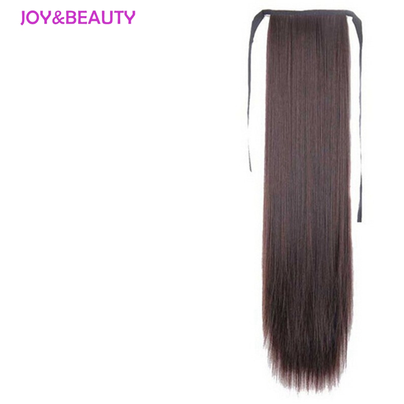 JOY&BEAUTY Hair Synthetic High Temperature Fiber Hair Long Straight Ponytail Clip In Pony Tail Hair Extensions 24