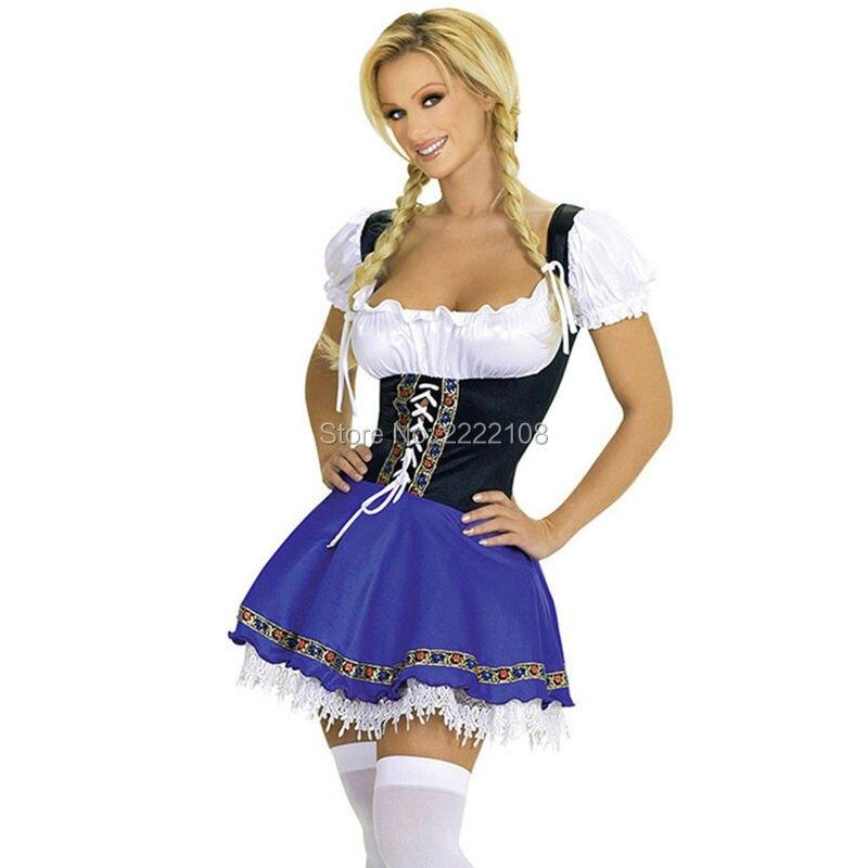 Cheap Hot free shipping Womens German Beer Girl Costume Fraulein Dirndl Fancy Dress Oktoberfest costume costume halloween women