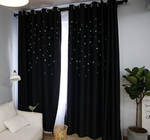 Custom Made Fashion American Country Curtain Star Hollow Out Black Curtains Living Room Kids Bedroom Blackout