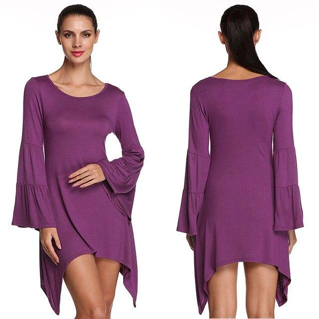 f17f56d7c670 Women Solid Color Round Neck Long Bell Bottom Sleeves Asymmetric Hem Mini  Dress