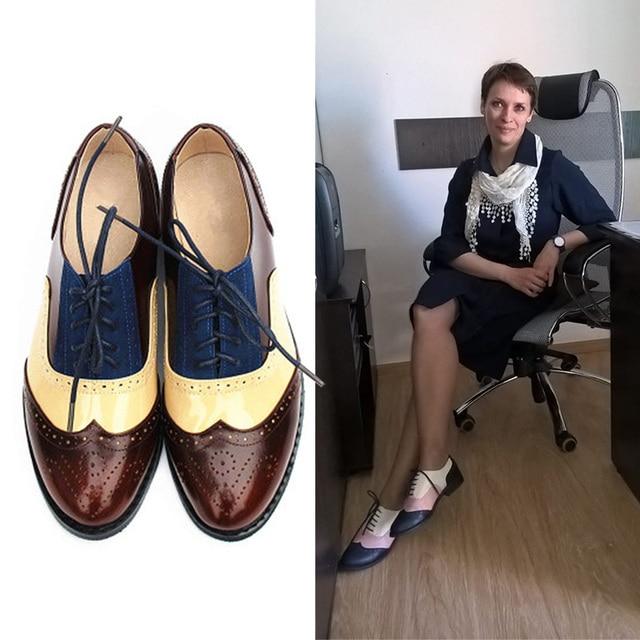 Flats Oxford Shoes Mulher Sapatos Tênis de Couro Genuíno Das Senhoras das mulheres Brogues Oxfords Sapatos Para As Mulheres Calçados Casuais Do Vintage