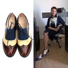 รองเท้าสตรี Oxford รองเท้าผู้หญิงรองเท้าหนังแท้รองเท้าผ้าใบสุภาพสตรี Brogues Vintage Casual Oxfords รองเท้าผู้หญิงรองเท้า