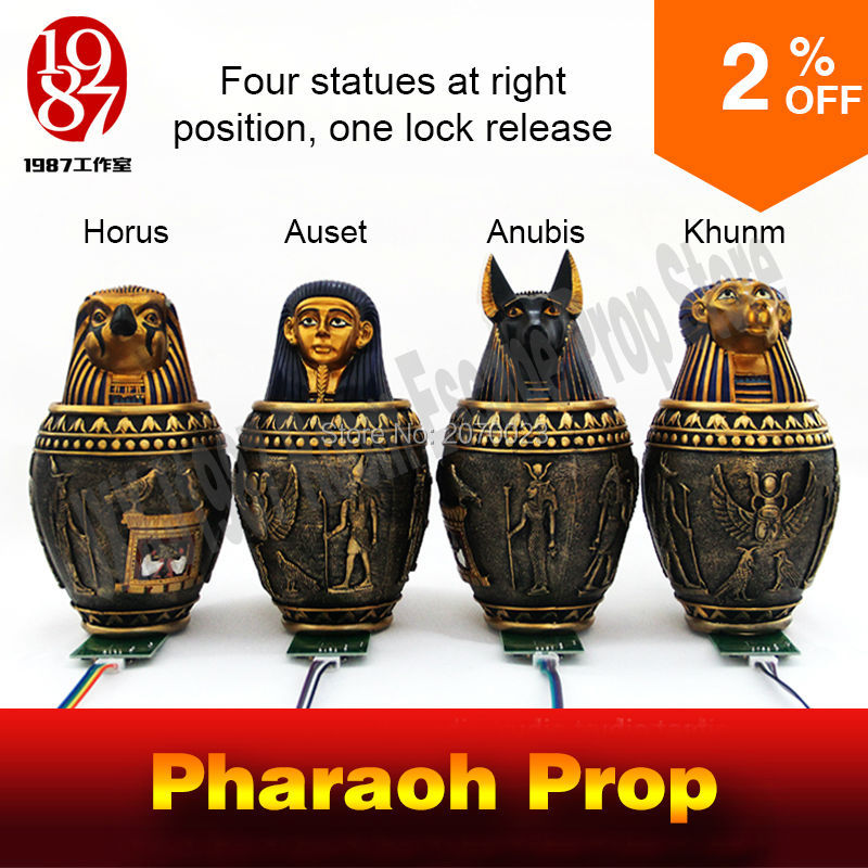 media for education in egypt Pharaoh  beast prop for adventurer room escape game puzzle put  4 Egypt  pyramid statues in right  place to unlock