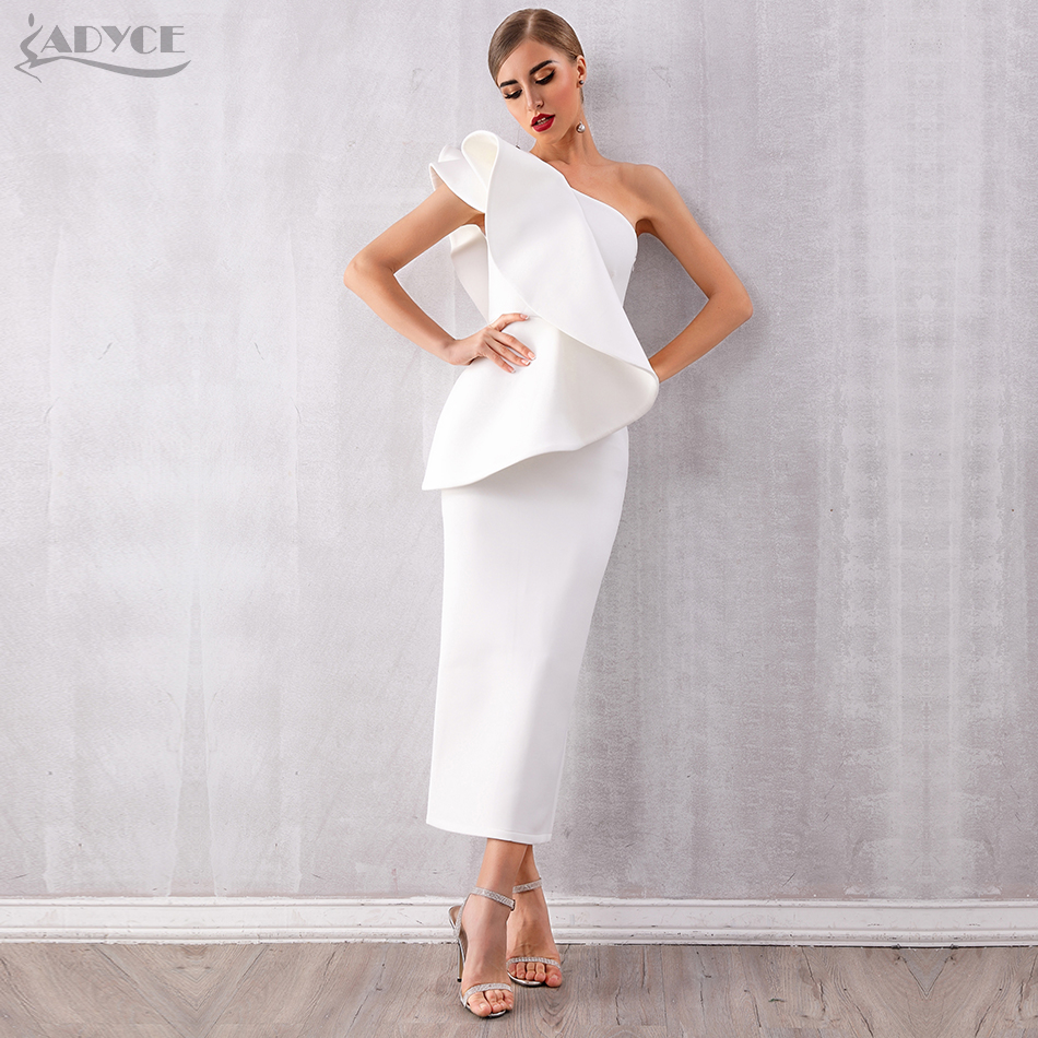 Adyce Summer Women White Celebrity Runway Party Dress Vestidos 2020 Sexy Sleeveless Ruffles One Shoulder Maxi Bodycon Club Dress
