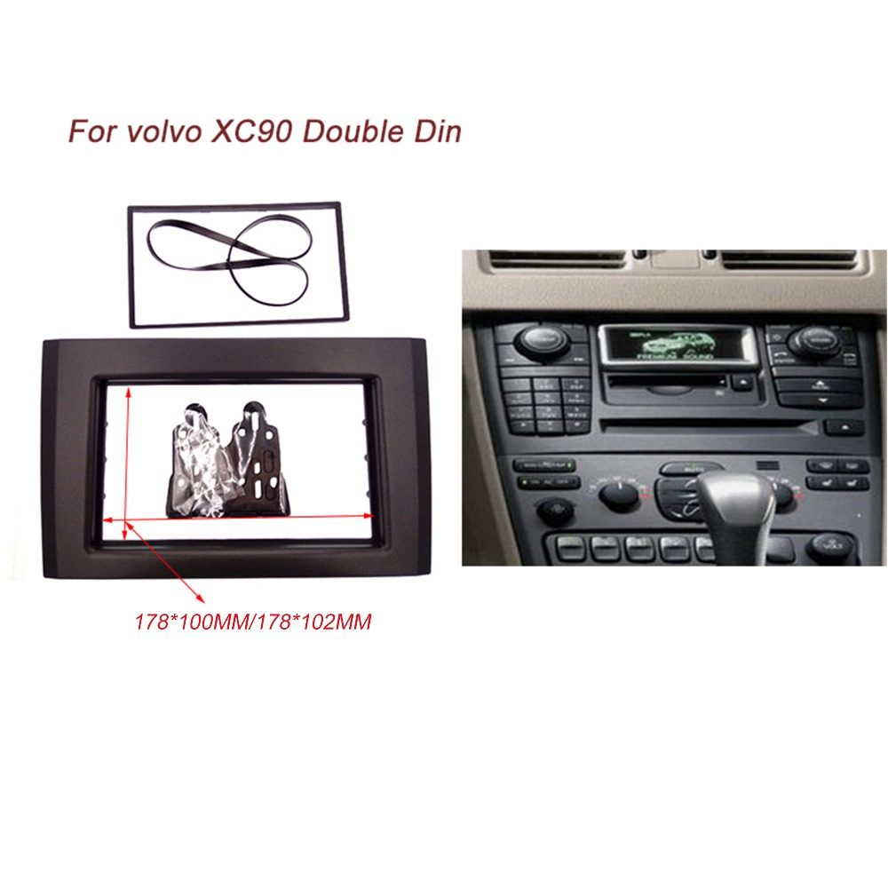 Double 2 din car radio fascia for volvo xc90 stereo interface dash cd trim installation kit