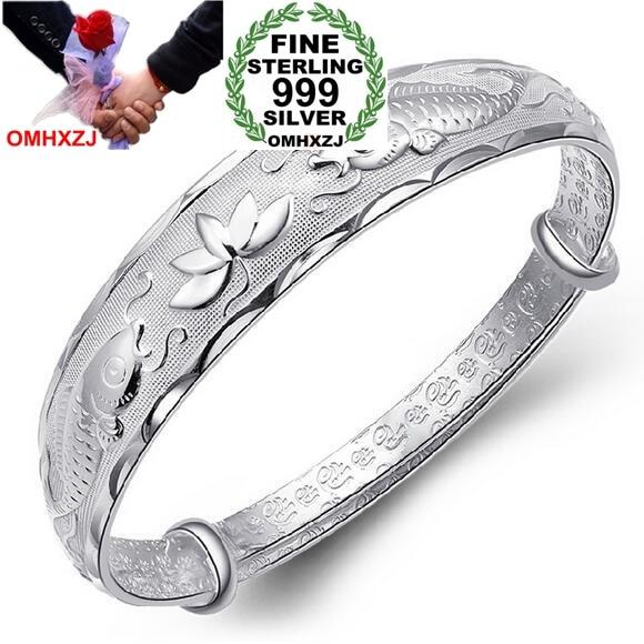 OMHXZJ Wholesale Fashion Double Fish Lotusn Woman Kpop Star Fine 999 Sterling Silver Adjustable Bracelet Bangles Gift SZ17