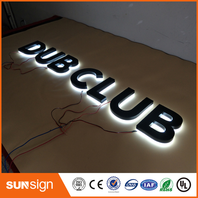 US $837 16 |painted Stainless steel Backlit signage letters LED 3D  illuminated Channel letters signs for club-in Electronic Signs from  Electronic