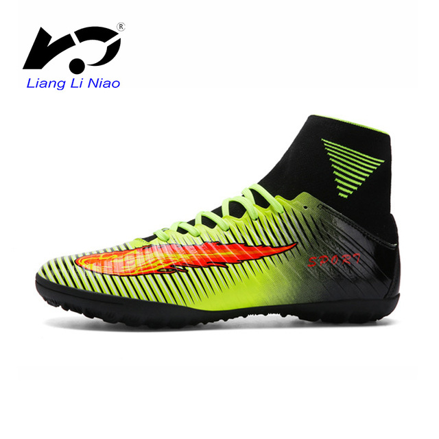 4dc15e6f2a99 Professional Men Football Boots Top Quality High TF Ankle Indoor Soccer  Shoes Training Football Shoes Superfly Original